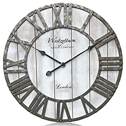 Westzytturm Extra Large Wall Clock Wood Rustic Farmhouse Vintage Oversized 3D Roman Numeral, Decorative Wall Clocks for Living Room,Kitchen,Office,Mantel(Grey 24 inch)