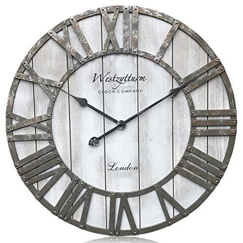 Westzytturm Große Wanduhr Vintage (Grau 60 cm Ø) Nostalgie Look Design Wanduhr Holz Römische Ziffern, Wanduhren für Wohnzimmer,Küche,Esszimmer,Büro,Cafe