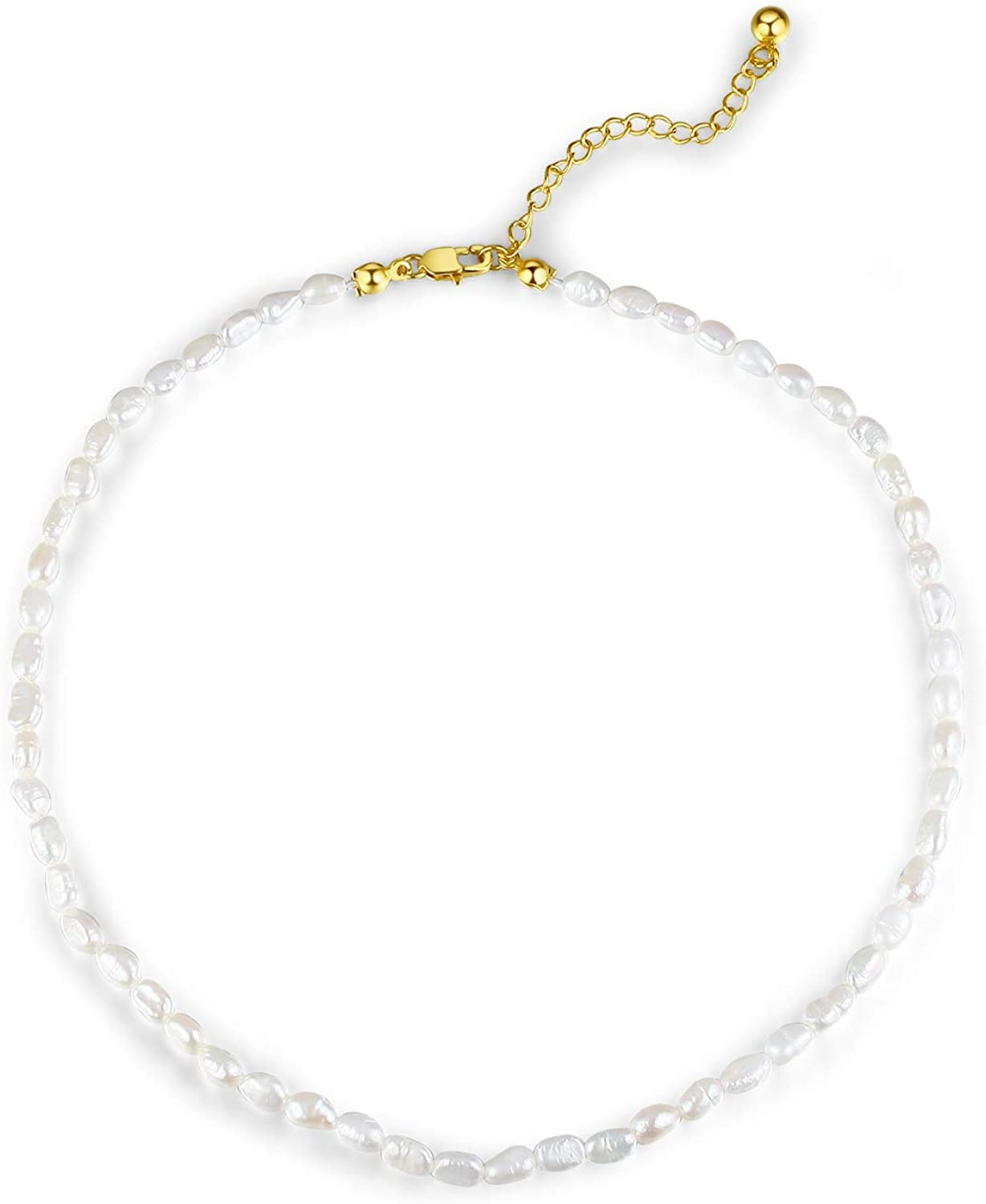 """BeFab 4-5mm Small Pearl Choker Necklace Fresh Water Cultured Rice Shape Real Irregular Pearl 13.8"""" Long & 2"""" Extender"""