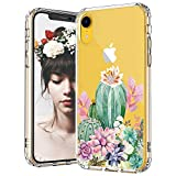 MOSNOVO Tropical Cactus Cacti Succulents Pattern Designed for iPhone XR Case,Clear Case with Design,TPU Bumper with Protective Hard Case Cover