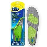 Scholl Gel Activ Sport - Solette per scarpe da Uomo, Con tecnologia antiodore, 40-46.5 EU, 1 Paio