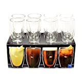 Ozeri Artisan Series 12 oz Beverage Set of 8 Drinking Glasses Moderna Double-Wall Glassware Set, Clear