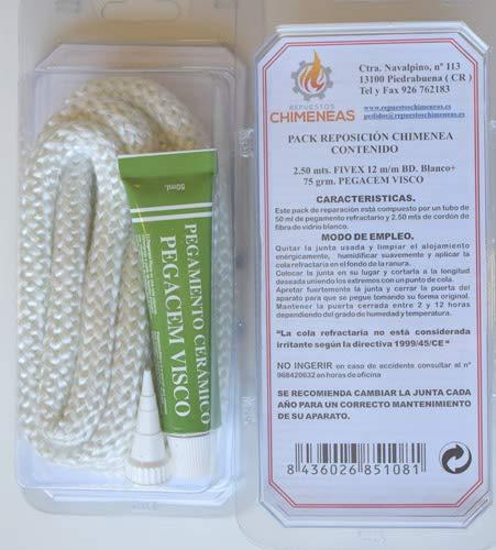 Kit reparación estufas y chimeneas cordón fibra de vidrio + pegamento (15mm)