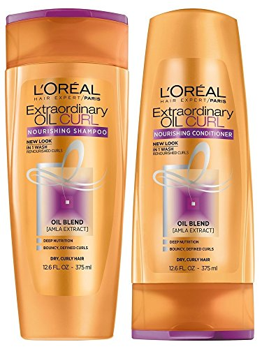 L'Oreal Paris Extraordinary Oil Curls Shampoo and Conditioner Set 12.6 Ounces Each Packaging...