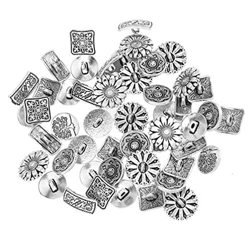 HEALLILY 60 Botones Antiguos de Aleación de Plata Estilo Tibetano Flor de Metal Botón Grabado Vintage Sujetadores de Costura para Disfraces Adorno de Diseño Manualidades (Mixto)