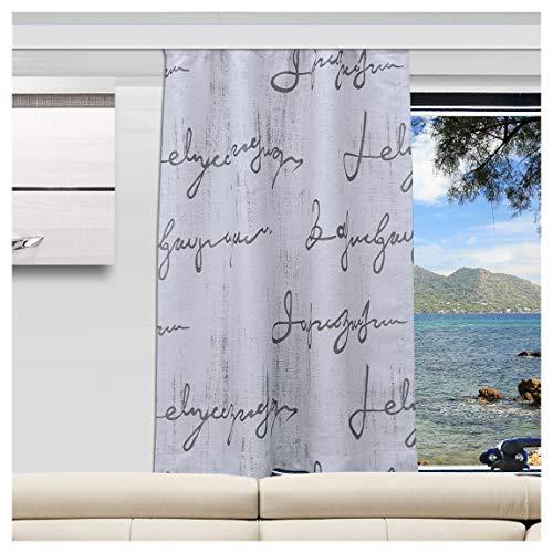 SeGaTeX home fashion Wohnmobil Caravan-Vorhang IVO grau Verdunklungsdeko Wohnwagengardine mit Reihband (Höhe & Breite nach Maß)