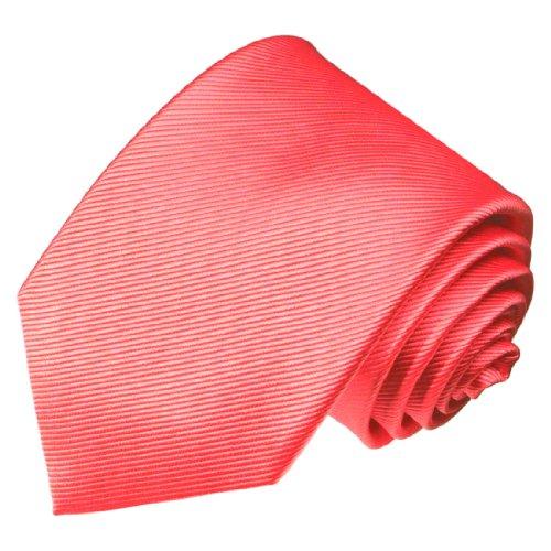 LORENZO CANA - Rosa Lachs farbene Krawatte aus 100% Seide - gewebte handgefertigte Markenqualität - 84251