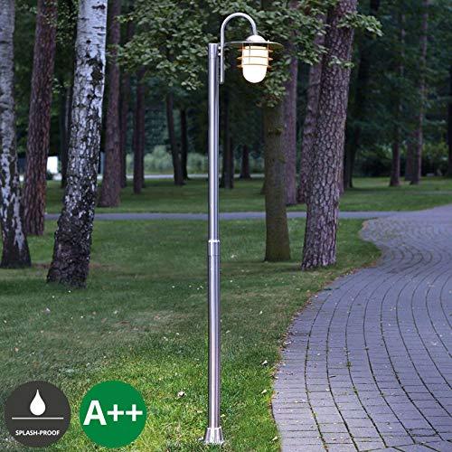 Lampenwelt Mastleuchte außen \'Mian\' (spritzwassergeschützt) (Modern) in Alu aus Edelstahl (1 flammig, E27, A++) - Kandelaber, Außenleuchte