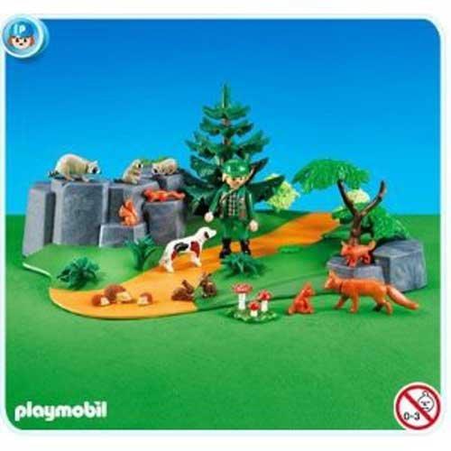 PLAYMOBIL®Lichtung mit Förster und Tiere Eichhörnchen / Fuchs / Waschbär / Igel / Hase im Folienbeutel ohne Karton Nr 7494
