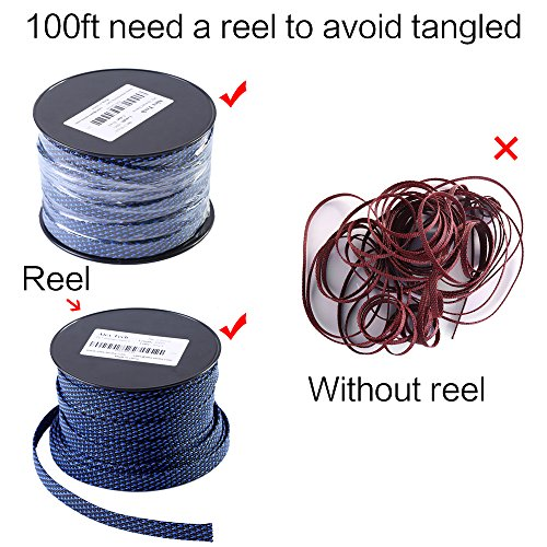 100ft - 1 inch PET Expandable Braided Sleeving – Blackblue – Alex Tech braided cable sleeve