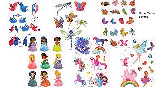 6fogli con tatuaggi con porporina, motivo di principessa, finti, regalo per bambini
