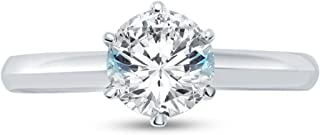 Solid 14k White Gold Round Cut Six Prong Knife Edge Solitaire Engagement Ring CZ Cubic Zirconia 1.25ct.