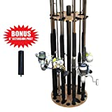Rush Creek Creations 24 Round Fishing Rod/Pole Storage Floor Rack American Cherry Finish - Features...