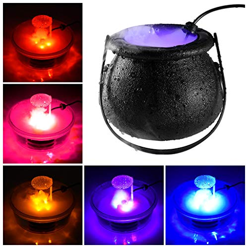 KDRose KFSO Halloween Witch Cauldron Fog Maker 12 LED Lights, Halloween Party Mist Maker, Water Fountain Fog Machine, Halloween Indoor/Outdoor Decoration Lights (Black)