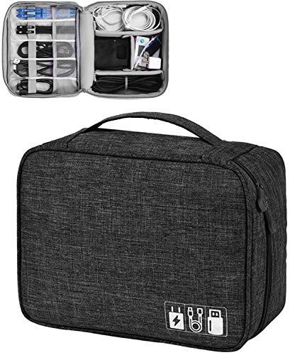 Elektronische Tasche - Elektronik zubehör organisator - universal travel Kabel Organizer Tasche (Schwarz