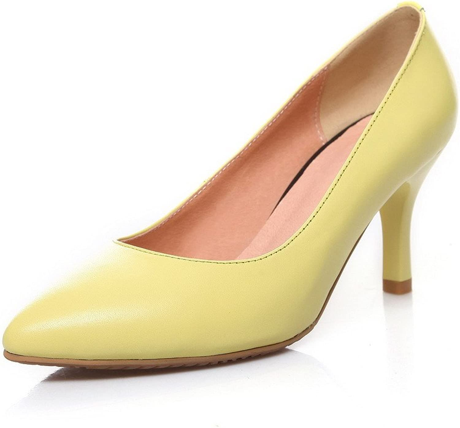 WeiPoot Women's Spikes-Stilettos Soft Material Solid Pull On Pointed Closed Toe Pumps shoes