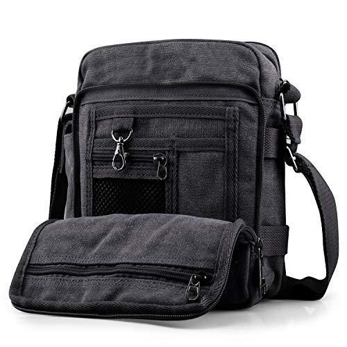 SPAHER Unisex Vintage Herrentasche Umhängetasche Ipad Tasche Schultasche Messenger Bag aus Segeltuch Tasche Arbeiten Tasche Cross Body Schultertasche Reisetasche für Männer Frauen Herren Schwarz