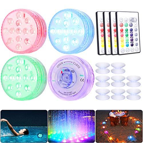 Unterwasser LED RGB Lichter, LUXONIC 4 Stück 13 LEDs Wasserdichte LED Leuchten Multi Farbwechsel Teichbeleuchtung mit Fernbedienung und 8 x Saugnapf, LED Licht für Vase Base Pool Fisch Tank Dekoration