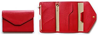 RFID Blocking Passport Holder, Portable Ultra-Thin Fold Multi-Purpose Document Organizer Soft Leather Card Case Passport Cover - Red