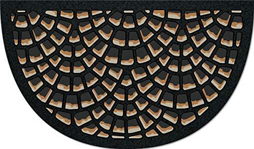 De'Carpet Felpudo Entrada Casa Original Divertido Moderno Flocado Media Luna Mosaico 40x70