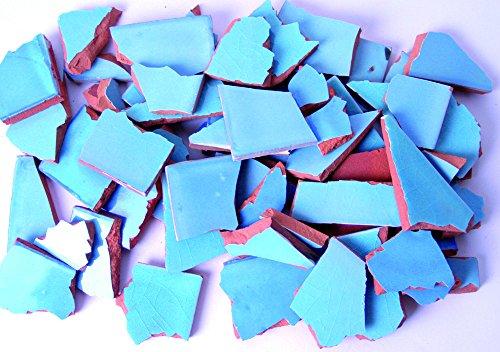 900g Bruchmosaik, Mosaikfliesen aus handgefertigten mexikanischen Fliesen - Türkis-Farbtöne