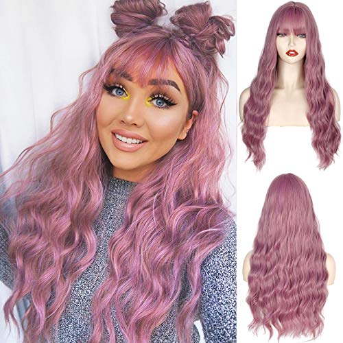 MERISIHAIR Long Wavy Purple Wig with Bangs,Lacender Long Bangs Wig for Women,Natural Looking Synthetic Wig Heat Resistant 24 Inches(Lavender)
