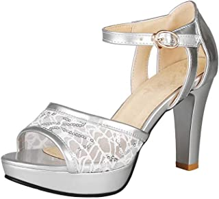 BalaMasa Womens ASL06324 Pu Platform Heels