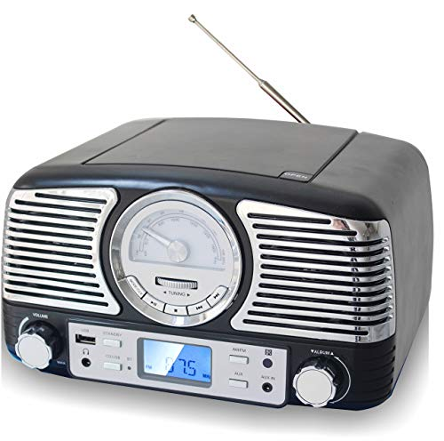 TechPlay QT62BT Black, Retro Design Compact Stereo CD, with AM/FM Rotary knob, Wireless Bluetooth Reception, and USB Port. with AUX in and Headphone Jack (Black)
