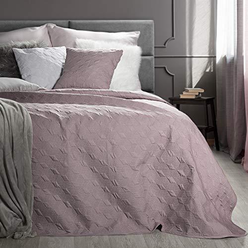 Eurofirany Decke Tagesdecke Dunkelrosa Bettüberwurf Überwurf Leuchtende Metall Naht Gesteppt Geometrische Muster Couchdecke Schlafzimmer Wohnzimmer Glamour Modern Chic, Polyester, 220cm x 240 cm