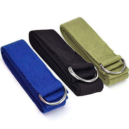 Limeow Yoga Stretchgordel yoga touw yogagordel met sluiting yoga stretching riem yoga riem yoga riem katoen met stevige sluiting van 2 verstelbare D-ringen (in totaal 3)