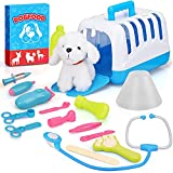TOY Life Dr Vet Kit for Kids - Veterinarian Kit for Kids with Plush Puppy - Pet Vet Playset Contains Stuffed Dog and Accessories -Vet Clinic and Cage Pretend Play for Kids Girls