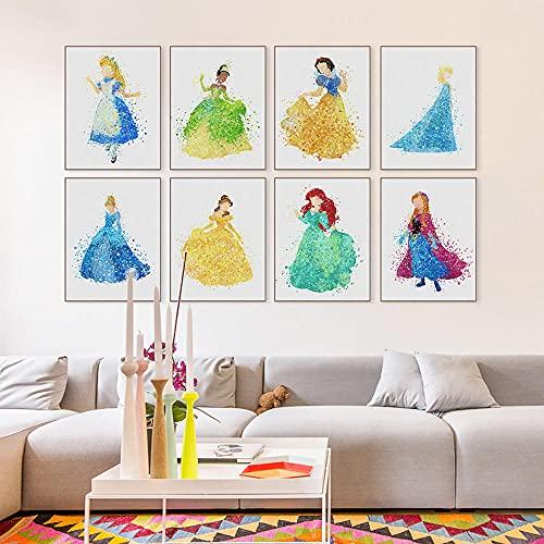 ZYQYQ Cuadros Decoracion Salon Modern Mural o acuarela princesa dibujos animados película cartel impresión hada niña niños habitación decoración pintura 30x40cmx8 sin marco