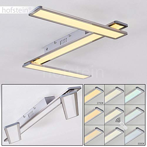 LED Deckenpanel Mirabo, verstellbare Deckenleuchte aus Metall in Stahl gebürstet, dimmbare Deckenlampe m. Fernbedienung, 21 Watt, 2610 Lumen, 2700-5000 Kelvin, mit Timer u. Nachtlichtfunktion