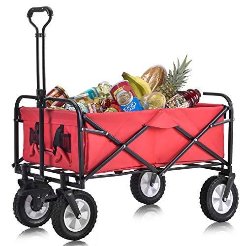 2Buyshop Bollerwagen Faltbar, Zusammenklappbarer Bollerwagen Draußen Alles Terrain Handwagen mit Breiten Bremsrädern, Mesh-Getränkehaltern, verstellbarem Griff, Stofftasche, Rot