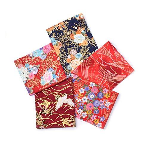YPASDJH 5pcs 20x25cm Paquete de Tela de algodón japonés para el Patchwork, Muñecas de Costura y Bolsas Material de Acolchado de Telas de Costura para Patchwork DIY Costura Scrapbooking