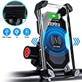 Leepiya Bike/Motorcycle Phone Mount with Wireless and USB Charger 10W Qi Fast Charging Cell Phone Holder for Motorcycle ATV Boat Snowmobile Compatible with iPhone Xs MAX XR X 8 8P Samsung S10 S9 S8
