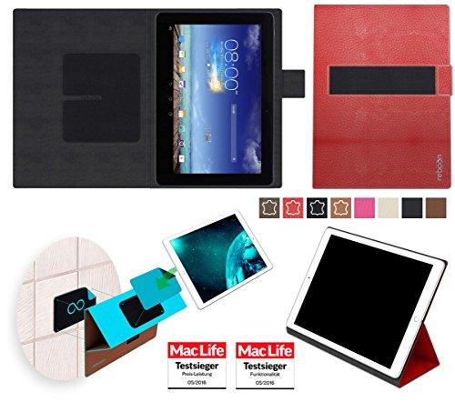 Hülle für Asus MeMO Pad 10 ME102A Tasche Cover Hülle Bumper | in Rot Leder | Testsieger