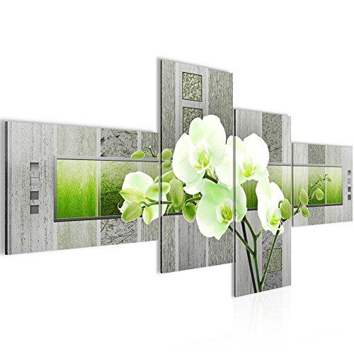 Runa Art Bilder Blumen Orchidee Wandbild 200 x 100 cm Vlies - Leinwand Bild XXL Format Wandbilder Wohnzimmer Wohnung Deko Kunstdrucke Grün 4 Teilig - Made IN Germany - Fertig zum Aufhängen 204641b
