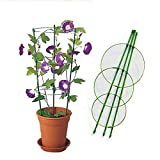 Vine Trellis Support 17.7' Flowers Plants Cage Triple Plastic Pillar with Iron Rings Vine Plants Holder Stand Small Pot Plant Trellis for Home Garden Balcony (Green)
