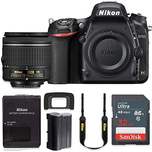 Nikon D750 24.3MP DSLR Camera with AF-P 18-55mm VR Lens Kit + 32 GB Sandisk Memory Card (Renewed)