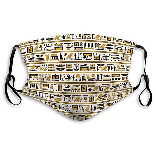 Ha99y Mundschutz für Küche Joggen ägyptische Hieroglyphen gelb schwarz Farbe Naht Mundschutz