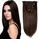 Lovbite Drak Brown 24Inch Clip in Hair Extensions 7Pcs 100g Double Weft Straight Hair Extensions Clip in Human Hair Total 16Clips in Extensions for Women