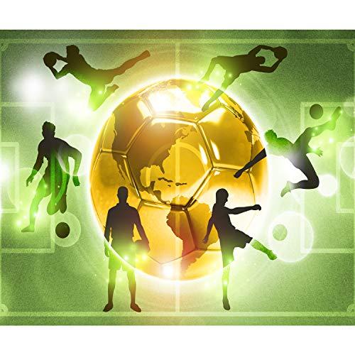 decomonkey Fototapete selbstklebend Fußball 245x175 cm XL Selbstklebende Tapeten Wand Fototapeten Tapete Wandtapete klebend Klebefolie Jugendzimmer Ball Sport gold grün