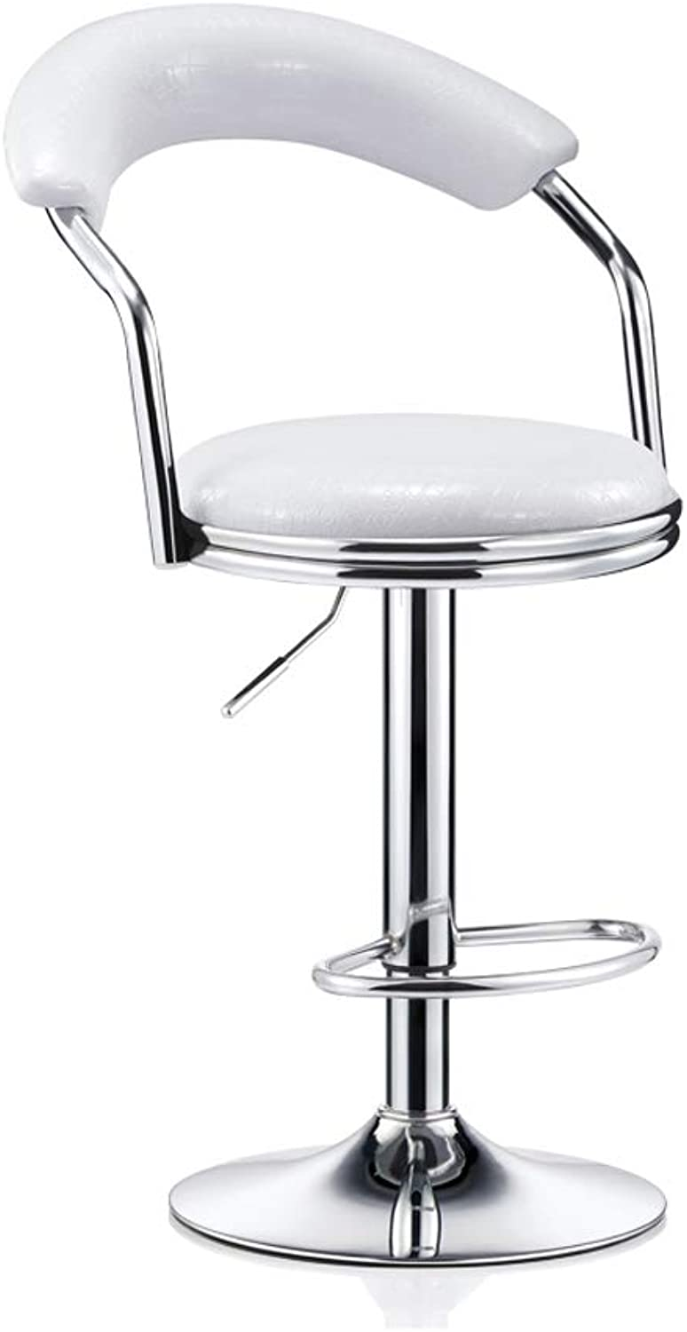 High Bar Chair Stools,Height Adjustable 360 Degree Swivel Soft Comfy PU Leather Chrome Stainless Steel Dining Living Room (color   White)