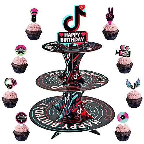 Tik Tok Happy Birthday Cupcake Stand and Tik Tok Cake Toppers 24 Pcs,Tik Tok Party Decorations Tik Tok Birthday Decor for Girls Cupcake Tower