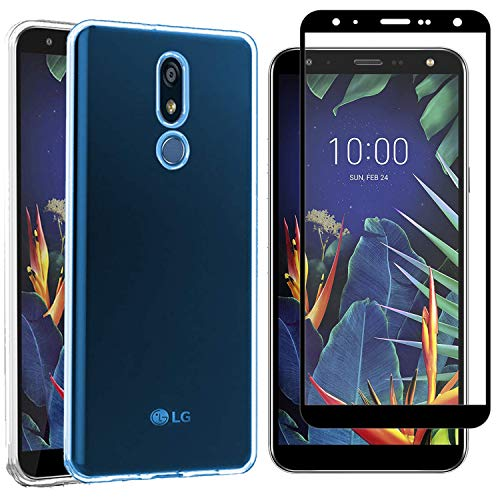 MYLBOO Funda LG K40 con Protector de Pantalla,[2 en 1] Funda Transparente TPU para teléfono móvil + 9H Protector de Pantalla Completa de Vidrio Templado para LG K40
