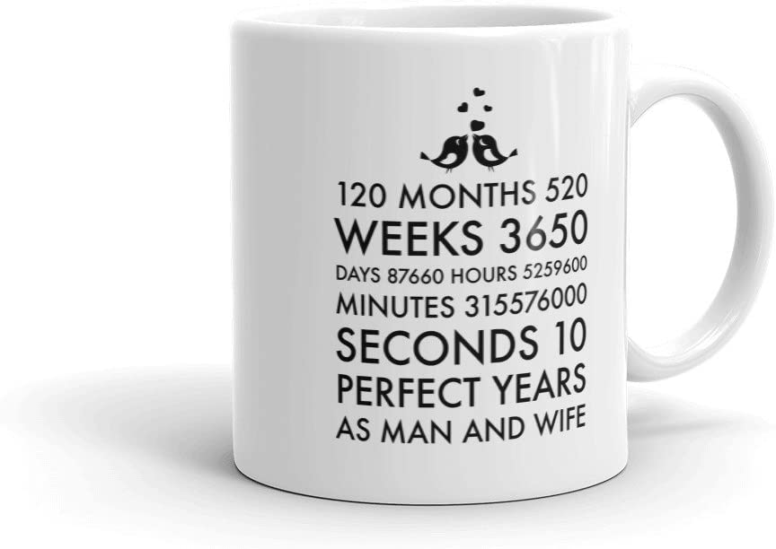 10 Year Anniversary Mug 10h Year Of Marriage Coffee Cup 10 Year Anniversary Gift Mug Kitchen Dining