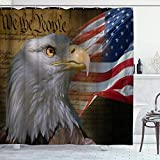 DYCBNESS Duschvorhang,Amerika Flagge Patriotischer Adler Wir das Volk Unabhängigkeitserklärung Hintergr&,Langhaltig Hochwertig Bad Vorhang Polyester Stoff Wasserdichtes Design,mit Haken 180x180cm