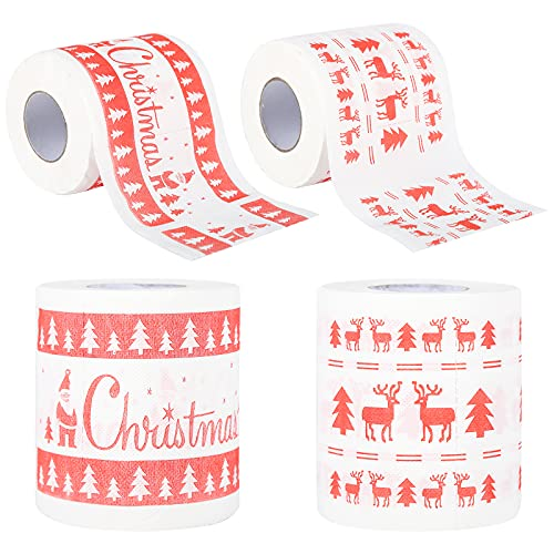 Papel higiénico, 4 rollos Papel higiénico navideño Divertido y novedoso Papel higiénico Baño en casa Rollo de papel higiénico Rollos de papel higiénico de Navidad para decoración de fiestas