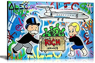 artwu ALEC Monopoly Rich Air Ways,Wall Art Home Wall Decorations for Bedroom Living Room Oil Paintings Canvas Prints -1304 (Framed,24x36inch)